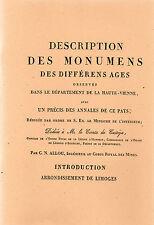 MONUMENTS des DIFFERENTS AGES + ALLOU + HAUTE-VIENNE