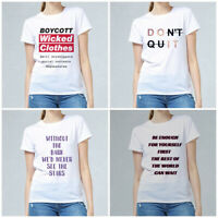 Women Summer Letter Print White T-shirt Short Sleeve Basic Tees Casual Tops