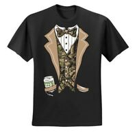 Tuxedo Bow Tie Mens Humor Party T Shirt Funny Camouflage Suit Parody Event Tee