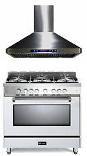 """Verona Prestige Vpfsgg365W 36"""" All Gas 5 Burner Range Oven Hood Package In White"""
