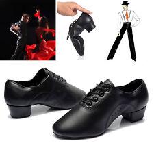 Men's Latin Salsa Modern Shoes Ballroom Competitive Dance Shoes Black Leather