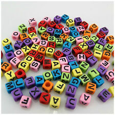 100PCS 7MM RainBow Mixed Alphabet Letter Acrylic Cube BEADS For Jewellery Making