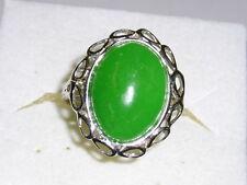 grüne Jade 925 Sterl. Silber massiv Solitär Ring