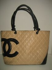 CHANEL Cambon Black CC Quilted Beige Leather Shoulder Bag Handbag Purse Classic