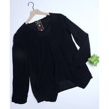JOHNNY WAS ~ Small Black Embroidered Tunic Top Pockets Pullover Long Sleeves