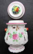 RARE Pot médicinal à onguent, barbotine fruits et fleurs, pot pharmacie ancien