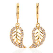Women 18K Gold Plated Leaf  CZ Cubic Zirconia Dangle Drop Earrings Jewelry Girls