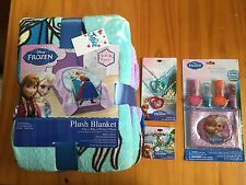 DISNEY FROZEN PLUSH BLANET 62 X 90 FROM JUSTICE + NECKLACE BRACELET AND MAKEUP