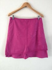 Animal Linen/Cotton Mix Skirt Size 10 Dark Pink Embroidered <R12523