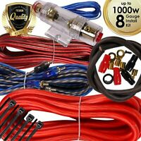 Complete 1000W 8 Gauge Car Amplifier Installation Wiring Kit Amp PK3 8 Ga Red