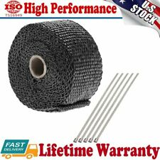 "New Exhaust Manifold Downpipe Heat Wrap 2"" x 5m & 5 Ties rap De Cat Pipe Tape"