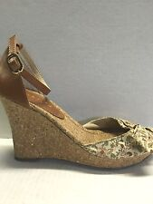 Unisa Women's Shoes Alanya Brown Leather Textile Cork Wed SHOES SIZE 8.5 NWOB