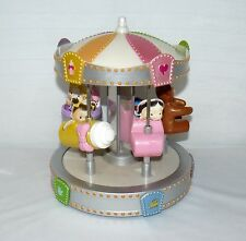 """MGA 2004 Baby Musical Carousel 8"""" X 7"""" Wind Up Plastic Carnival Ride"""