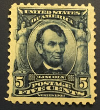 U.S. Scott #304 Blue 5 Cent Lincoln Stamp -Mint - Lightly Creased