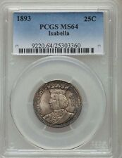 U.S. 1893 ISABELLA QUARTER-DOLLAR SILVER UNCIRCULATED COIN, CERTIFIED PCGS-MS64!