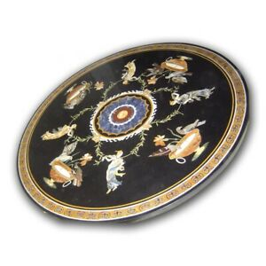 Black Marble Dining Table Top Pietra Dura Marquetry Floral Inlay Art Decors B418