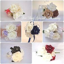 Wedding rose flower corsage with pearl, ribbon or diamante bridesmaid prom party