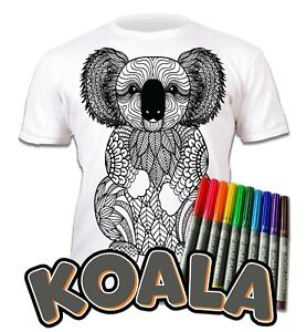 Splat Planet Colour-in Koala T-Shirt 10 Magic Pens-Colour-in and Wash Out