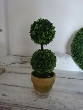faux 21cm  TOPIARY DOUBLE BALL potted terracotta  home decor mini french