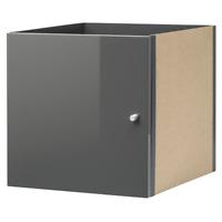 IKEA KALLAX Einsatz mit Tür HOCHGLANZ GRAU Regal für Expedit Box Regaleinsatz