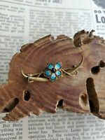 Antique Victorian gold filled crescent moon brooch blue guilloche forget-me-not