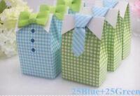50pcs My Little Man Candy Box Blue Green Bow Tie Birthday Boy Baby Shower Favor