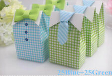 50pcs My Little Man Candy Box Blue Green Bow Tie Birthday Boy Baby Shower Favor