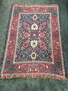Throw Blanket Williamsburg by Goodwin Weavers  Cotton Oriental Carpet Pattern
