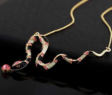 PENDENTE PORTAFORTUNA COLLANA PLACCATO ORO 18k made in italy ciondolo SERPENTE
