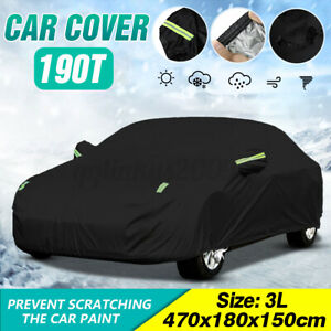 4.7m Full Car Cover Sedan Outdoor Scratch UV Rain Snow Dust Resistant Waterproof