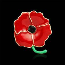 Red Poppy Flower Brooch Women girl Elegant Enamel Pin Broach Remembrance Gifts