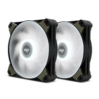 2-Pack Aigo X1 120mm White LED High Airflow Hybrid-Design PC Case Computer Fan