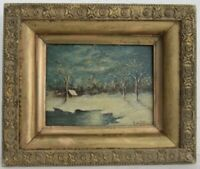 """LISTED  GEORGE SOTTER 1879-1953 PENSYLVANIA """" WINTER SCENERY OIL PAINTING"""
