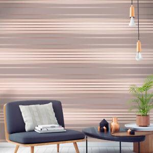Feature Wall Wallpaper Horizontal Stripes Grey Mocha Rose Gold Silver Velvet