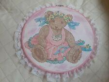 New listing Pink Baby nursery decor handmade glitter decorated Teddy Bear wall hanging