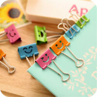 10pcs Smiley Cute Metal Binder Clips File Paper Clips Clamps 45/40mm Office NEW