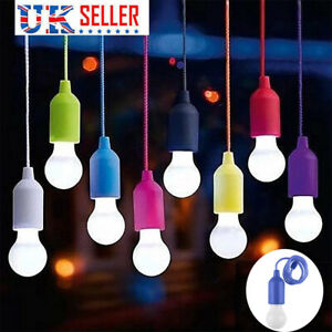 Battery Operated LED Light Bulb Pull Cord Reading Night Lamp Portable Hanging