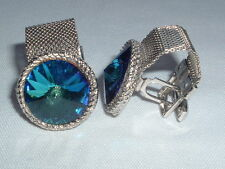 VINTAGE ROYAL BLUE GLASS MESH WRAP CUFF LINKS SILVER TONE