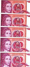 LOT Yugoslavia, 5 x 10 Dinara, 1990, Pick 103, UNC > Girl