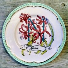 """Floral Canape Plate Letter N Nerine Anthropologie Eyew Anderer 6"""" NWT"""