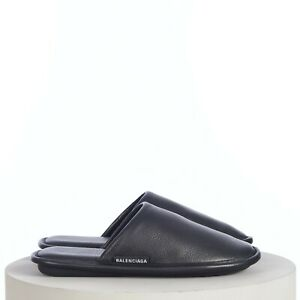 BALENCIAGA 595$ Men's Soft Mule Slippers In Black Calfskin leather with Logo Tag