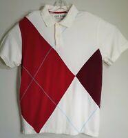 Old Navy Men Henly Shirt Sz XL Wine Red/White Blue Stitch Pattern Collar