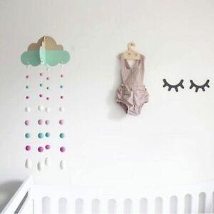 Cloud Wood Hanger Felt Pom Pom Ball Mobile Crib Wind-Bell Nursery Hanging Decor