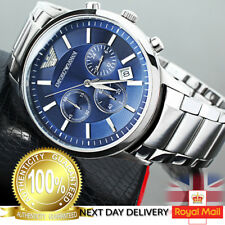 Emporio Armani AR2448 Men Watch Stainless Steel Blue Dial Chronograph Quartz