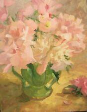 Peonies 6 pink,  peonies & Primroses in Green vase 14x11 O/C Margaret Aycock