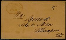 STAMPLESS COVER RED NAME IN ARC RED OCTAGON BOX MS 5 RARE MARKING VF BQ6634