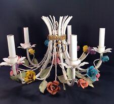 Vintage Floral Tole Shabby Chandelier 5 Arm Lamp Flowers Hanging Light