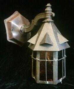 Antique Copper Porch Light Sconce Arts & Crafts Orange Peel pebble Glass rare