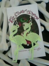 FLAMINGO SKELETON EARRINGS GLOW IN THE DARK / BONES /ROCKABILLY / PSYCHOBILLY