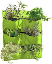 Living Wall Felt Planter 6 Pockets Lime Green Balcony Fence Fabric Indoor 70cm